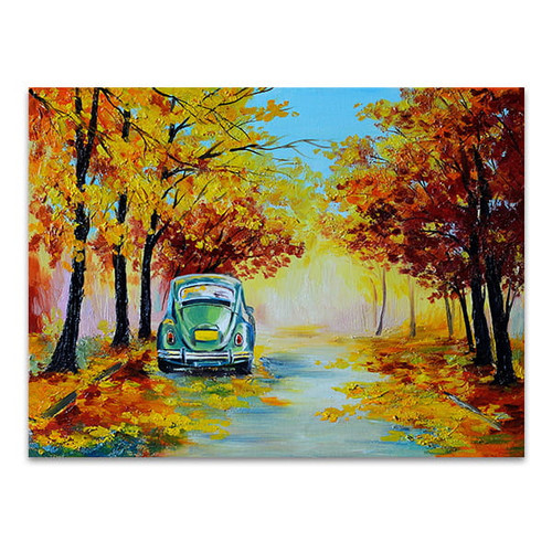 Car in Autumn Road Art Print
