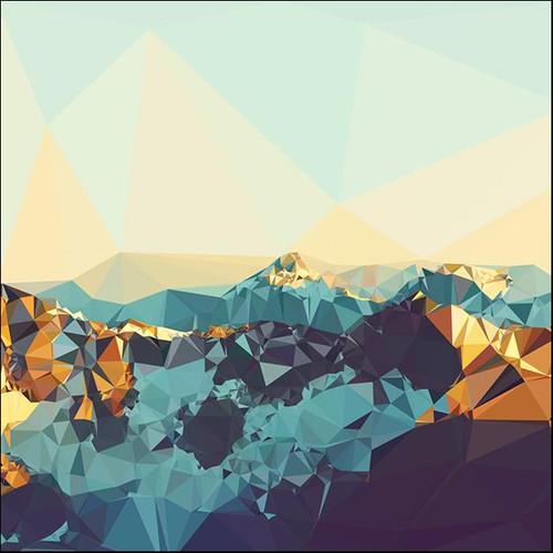 Fractal Mountain Sunset Wall Art Print, THE Studio