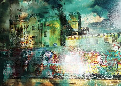 City Scrim A Wall Art Print