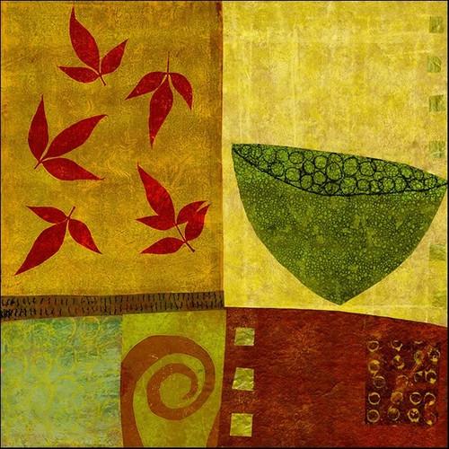 Green Bowl with Nandina Leaves Wall Art Print