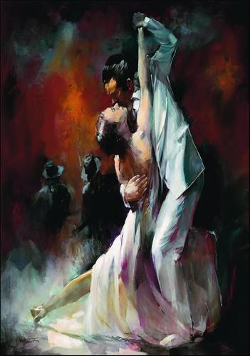 Couple Dancing Tango Wall Art Print
