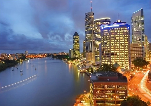 Brisbane City at Night Wall Art Print