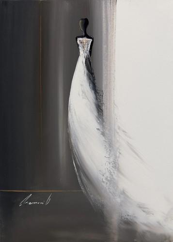 White Long Dress II Wall Art Print