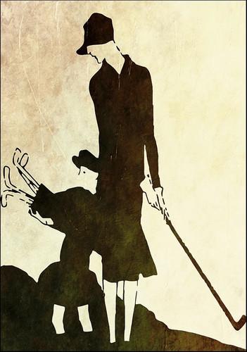 Lady and Child Golfer Wall Art Print