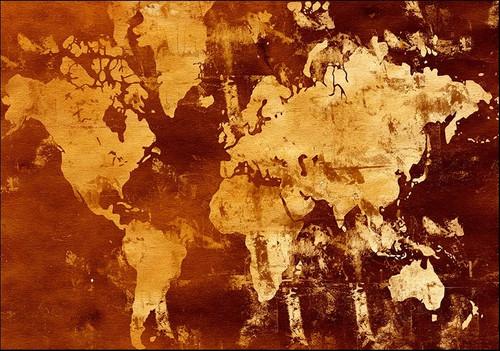 Abstract World Map Wall Art Print