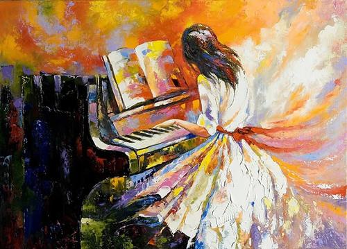 Girl Playing on the Piano Wall Print