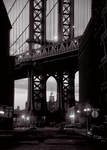Black and White Manhattan Bridge Wall Print