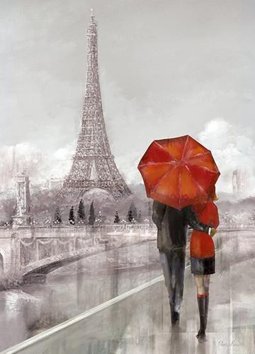 Modern Couple In Paris Wall Print