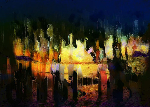 Digital City Abstraction Wall Art Print