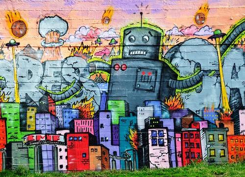 Urban Graffiti Robot Wall Art Print