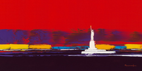 New York in Red Wall Art Print
