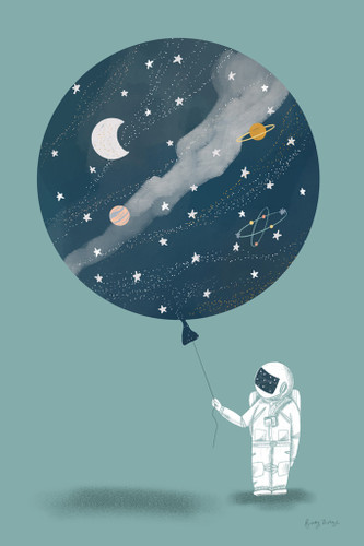 The Astronaut Balloon Wall Art Print