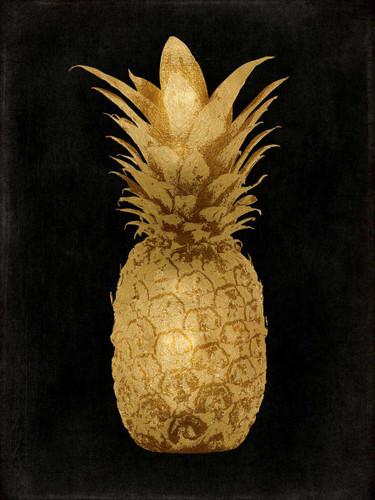 Gold Pineapple on Black I Wall Art Print