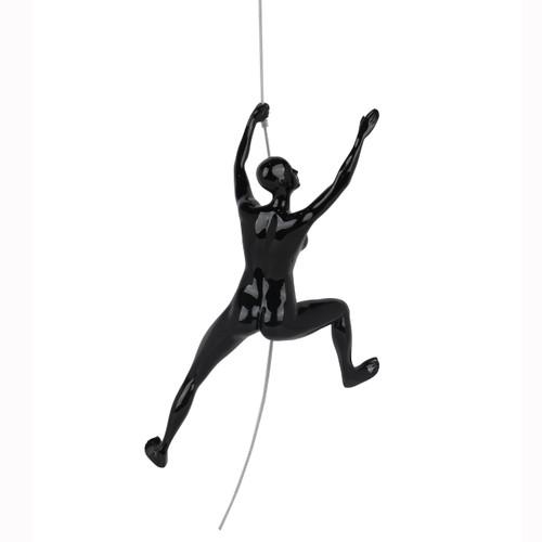 Poly Resin Climbing Woman C Black Gloss