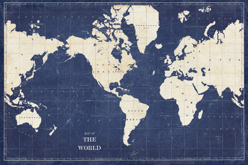 Blueprint World Map Wall Art Print