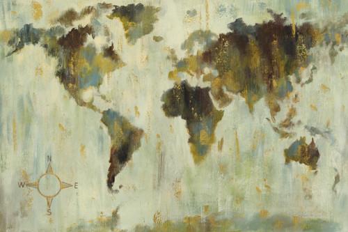 Bronze World Map Wall Art Print