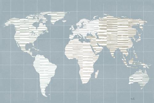 Calm World Map Grid Wall Art Print
