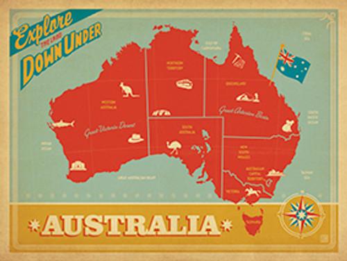 Vintage Australia Map Wall Art Print