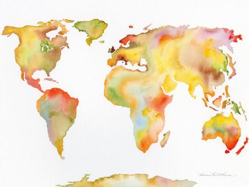 Watercolor World Map Wall Art Print