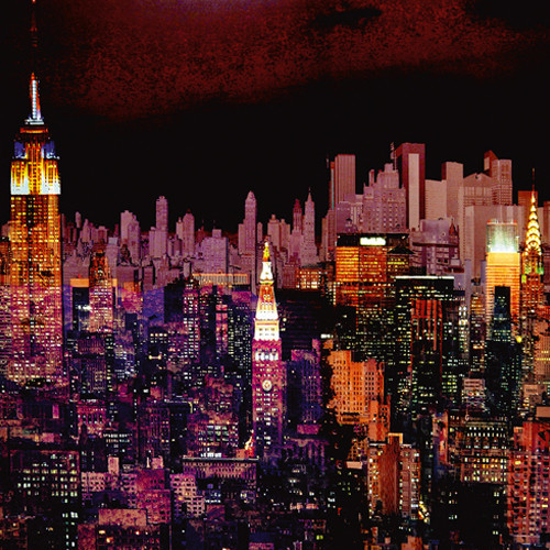 New York by Night Wall Art Print