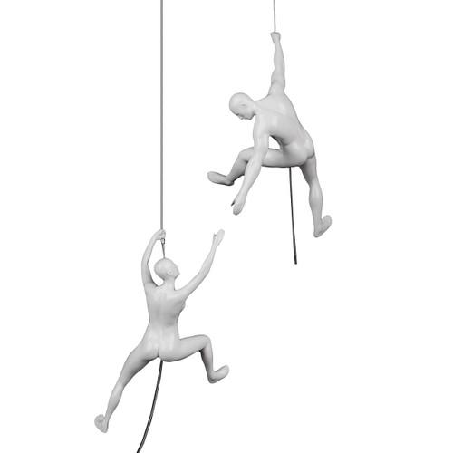 Poly Resin Climbing Couple C White