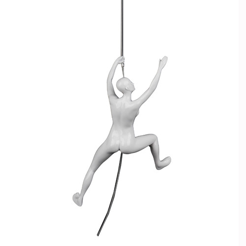Poly Resin Climbing Woman C White