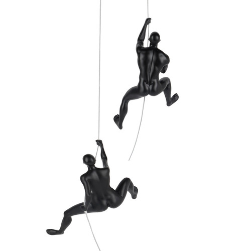 Poly Resin Climbing Couple D Matte Black