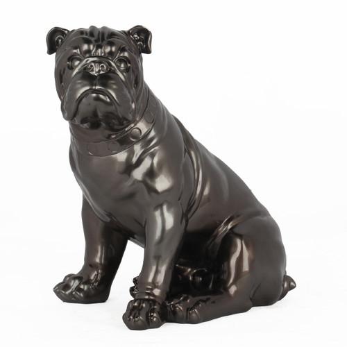 Poly Resin British Bulldog Metallic Grey
