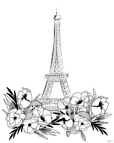 Eiffel Black and White Wall Art Print