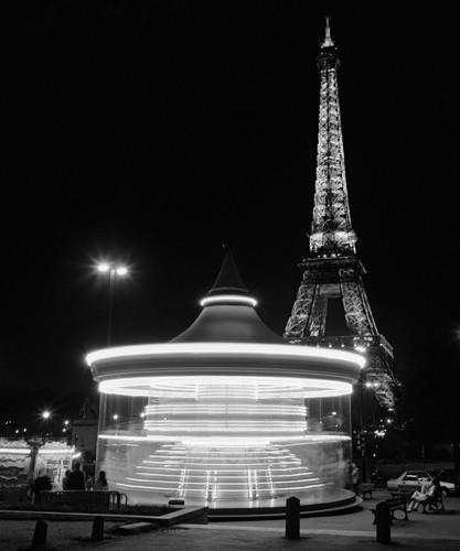 Eiffel Tower Merry Go Round Wall Art Print