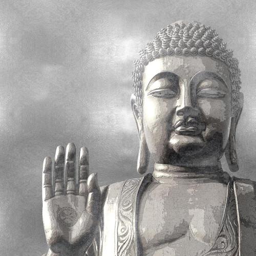 Silver Buddha Wall Art Print