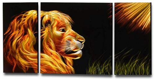 Metal Wall Art Golden Lion