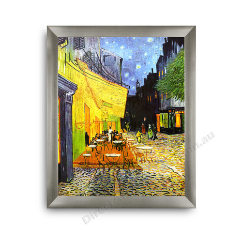 b2bee7e2bbc Cafe Terrace at Night on the wall · Gold Ornate Outer Frame · Modern Flat  Silver