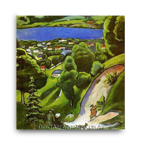 Tegernsee Landscape with Man Reading and Dog