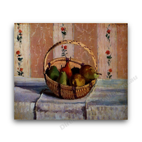 Still Life Apples and Pears in a Round Basket