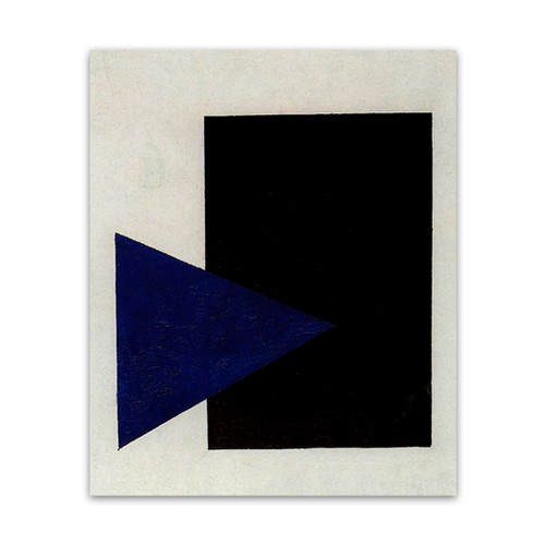 Suprematism with Blue Triangle and Black Square