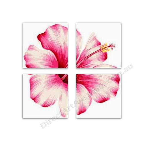 Pink Hibiscus Flower Multi Panel Canvas Oil Painting Perth