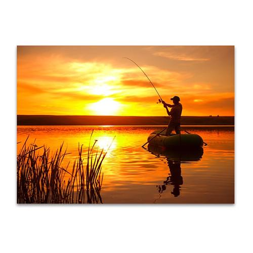 Fishing on Pond Wall Art Print