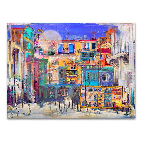 Street Houses in Colors Art Print