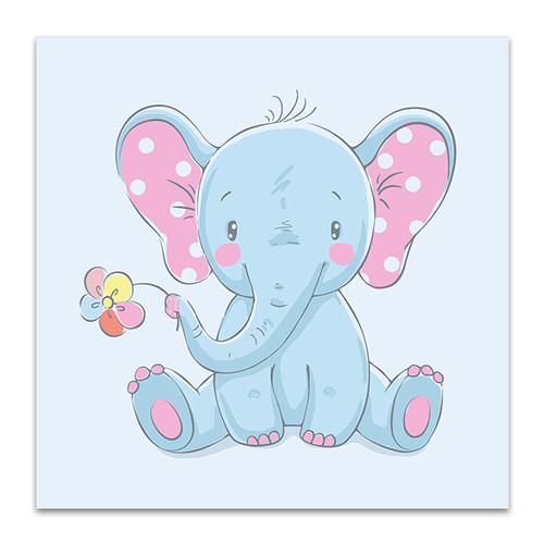 Baby Elephant with Flower Art Print
