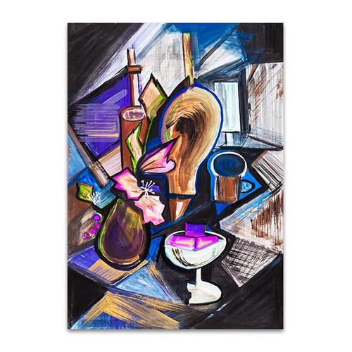 Bottles Cubism Art Print