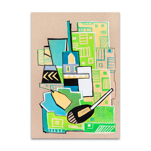 Green Cubism Manner Art Print