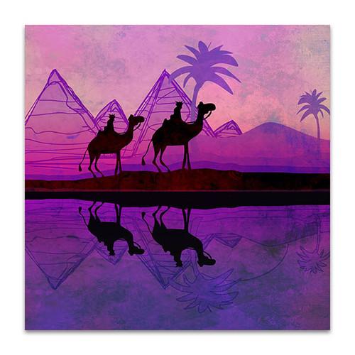 Purple Camel Train Art Print