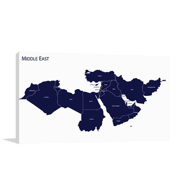 image relating to Printable Maps of the Middle East named Map Of Heart East Artwork Print