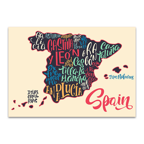 Map Of Spain For Printing.Map Of Spain Wall Art Print