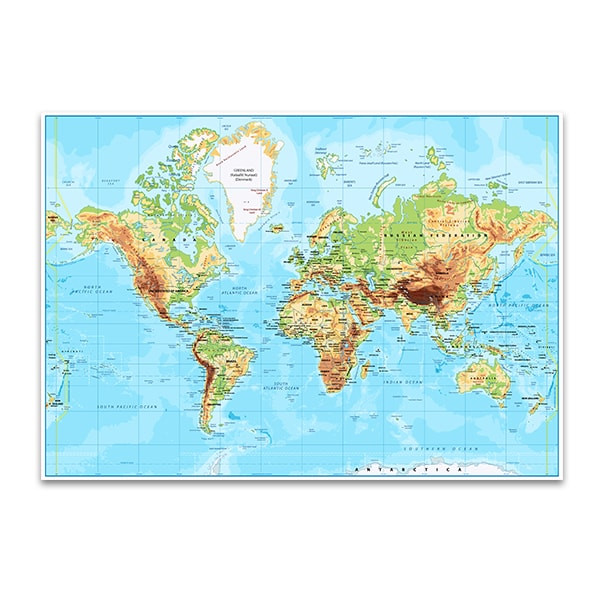 Labeled World Map Wall Art Print