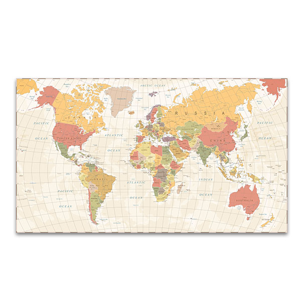 Vintage World Map Art.Detailed Vintage World Map Wall Art Print Bedroom Canvases
