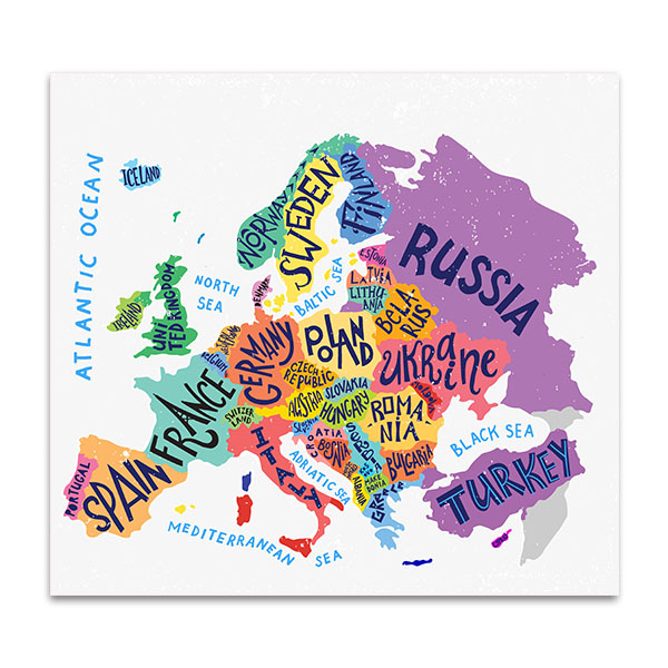 North Sea Europe Map.Vector Europe Map Canvas Print In Decoration Ideas For Walls
