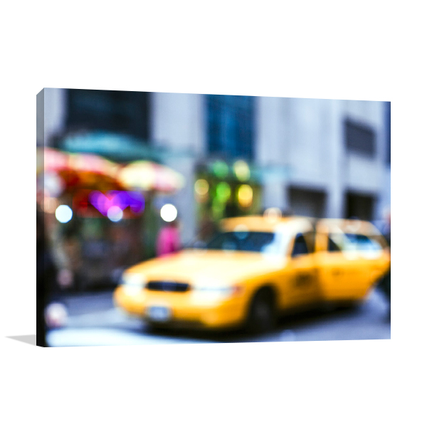 Lights of the City Taxi Wall Art Print