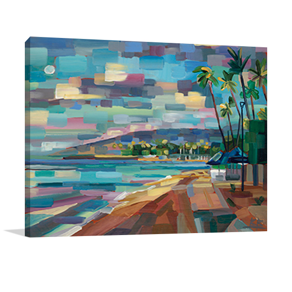 Morning Moon Over Waikiki Wall Art Print